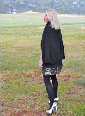 black cape:metallic shoes