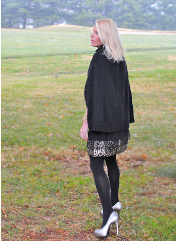 black cape:metallic shoes